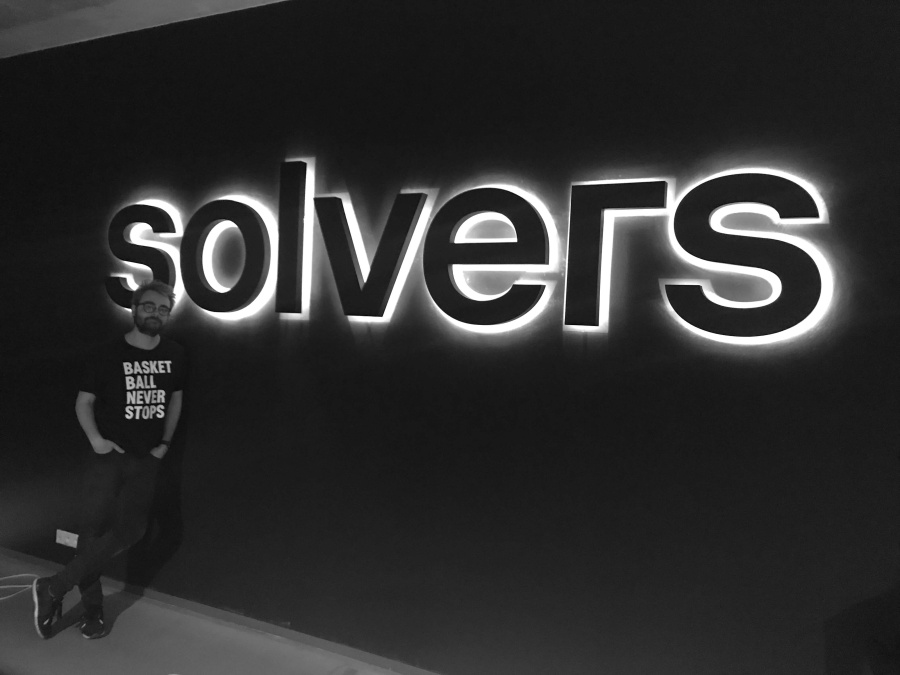 Black and white of Solvers sign